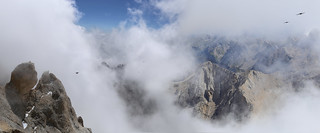 Alpine Cloughs high up in the clouds in the dolomites