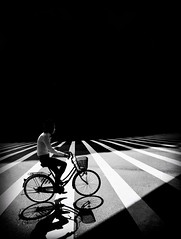Osaka. Japan.    (iPhone 6 (Mark Fearnley Photography) Tags: mono bw shotoniphone iphone6 iphone crossing zebracrossing light mood bicycle bike tokyo osaka blackandwhite bnw japan