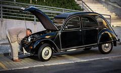 'Open wide and say ahhh!' (Canadapt) Tags: 2cv deuxchevaux car man hood bonnet open inspection breakdown auto automobile black loures portugal canadapt