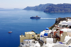 Santorini Cruise (Johan Konz) Tags: santorini sea ocean oia landscape seascape water boat island vulcano bay sky blue building church cruise ship nikon d90 tourism greece