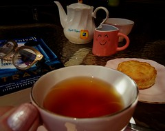 Happiness is.... (Clare-White) Tags: happinessis smileonsaturday tea cup scone smile jug food lable book glasses nail finger me heart stilllife