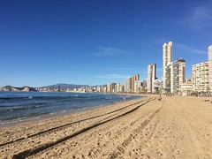 "Playa de Levante Benidorm today. (Bennydorm) Tags: vacation holidays resort espana january iphone5s acqua agua eau wasser water mer seaside sea ""bluesky"" europe spain benidorm buildings sunshine sunny sand plage koste costa cote beach playa"