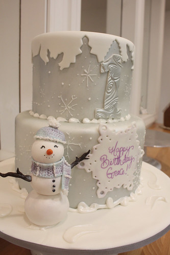 Winter Snow Cap Snowman Cake