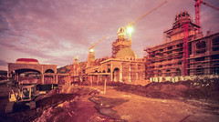 lost city construction 007 (francois f swanepoel) Tags: 1989 bdb burgdohertybryant arch architecture argitektuur burgh decor doherty elephant fake fibrecement lostcity lostcityconstruction opened1992 palaceofthelostcity slidefilm slidescans steel structures strukture suncity veselsement elephanttusks sunset