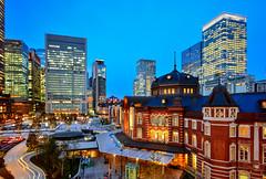 東京駅(DSC_7890) (nans0410(busy)) Tags: japan tokyo tokyostation nightview cityscape lighting bluetime buildings 日本 東京都 東京車站 東京駅