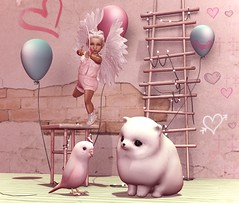 Pew Pew (Serena Reins) Tags: confession secondlife pic poses photography original bento baby toddleedoo holiday valentines cupid cute adorable bird pomperanian pink love bow arrow cutie bytes mesh