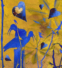 love over gold (CatnessGrace) Tags: silhouettes gold blue shimmer glow birds hearts nature natureart