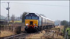 57308 at the top of the Valentine special Northern Belle, powering past Hessay (Mark's Train pictures) Tags: jamieferguson class57 57 57308 drs directrailservices passengertrain pullman umber northernbelle northern belle harrogateloop harrogatecircle hessay singletrack stoplooklisten levelcrossing