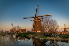 Windmill near Rottemeren, Holland (mesocyclone70) Tags: mill windmill water reflections swan sky blue sunset goldenhour holland netherlands rottemeren zevenhuizen bleiswijk scene scenery scenics scenic landscape dutch zuidholland