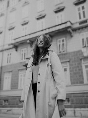 Attitude... (dark.indigo) Tags: portrait people popular posing pretty portait pose photography fashion retro coat girl model hair young street 35mm canon vsco vintage bokeh dof depthoffield building architecture