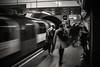 The rushing hour..... (Dafydd Penguin) Tags: london underground tube station totenham court road train tram transport public city urban capital blackandwhite blackwhite black white monochrome mono bw noir leica m10 summicron 35mm f2 asph