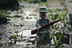 Trudging the Mud (CookCreator) Tags: lego war worldwarll minifigure soldier trenches dark rain legophotography military army