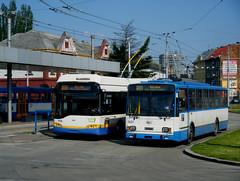 Ostrava trolleybuses Nos. 3728 and 3257 (johnzebedee) Tags: trolleybus transport publictransport vehicle ostrava czechrepublic skoda johnzebedee