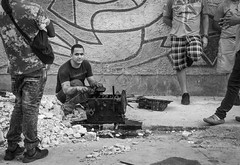 Mechanic Sans Garage (lornahamblin) Tags: havanacuba resourcefulness beautifulmess compadres streetshooting backstreets slum work mechanic