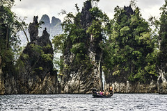 Jungle covered limestone cliffs of Khao Sok National Park, Thailand