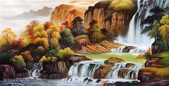 Great Northern, Art Painting / Oil Painting For Sale - Arteet™ (arteetgallery) Tags: arteet oil paintings canvas art artwork fine arts waterfall water landscape rock stone forest tree travel outdoor environment park mountain stream summer fall rocks scenic lake natural scenery cascade spring outdoors wild falls splash trees peaceful sky flowing flow valley serene wilderness rocky national waterfalls mountains stones landscapes oriental lime cyan watercolor