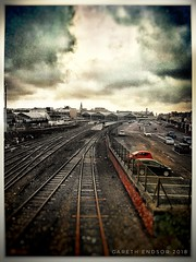 Southport station (garethendsor7771) Tags: samsung s7 train station southport cloudy grunge snapseed car track