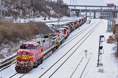 "Eastbound Transfer in Kansas City, MO (""Righteous"" Grant G.) Tags: bnsf railway railroad locomotive train trains atsf santa fe ge power kansas city southern missouri kcs east eastbound transfer freight yard job snow"