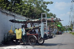 all purpose cart (the foreign photographer - ฝรั่งถ่) Tags: all purpose cart ladder salesman clothes hanging broom our street bangkhen bangkok thailand nikon d3200