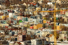 Lego City (Karen_Chappell) Tags: city urban architecture crane jellybeanrow stjohns canada atlanticcanada avalonpeninsula eastcoast newfoundland nfld downtown homes houses buildings building colourful multicoloured colours colour rowhouse house