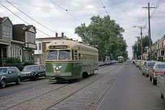 US PA Philadelphia SEPTA PCC 2175 5-12-1973 Kingsessing-61st WB Rt 13 (David Pirmann) Tags: tram transit streetcar trolley septa ptc philadelphia pa pennsylvania pcc
