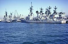 USS Waddell (PDX Bailey) Tags: sea boat ship sky water ocean vessel blue destroyer fletcher sandiego california 1970s 70s waddell uss navy united states