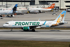 A320.N229FR-1 (Airliners) Tags: frontier frontierairlines 320 a320 airbus airbus320 airbusa320 fox redfox peachythefox mia n229fr 11518