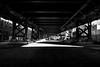 Under the Benjamin Franklin Bridge in Philly [in explore 2018-02-10] (Piotr_PopUp) Tags: benjaminfranklinbridge philadelphia philly pensylvannia pa bridge blackandwhite blackwhite bw city urban contrast monochrome mono symmetry explore inexplore bnw shadow shadows light sunray winter
