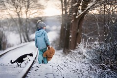 Sundays Walk (agirygula) Tags: sunday walking snow winter landscape teddy cat childhood friends by side