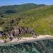 Anse Source d'Argent Schönster Strand der Welt Luftbild Seychellen