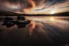 Silence (peterwilson71) Tags: sunset lake water rocks reflections yorkshire skys horizon movement canon6d