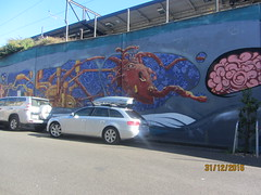 Whale Wall 3, Richmond, Melbourne (d.kevan) Tags: australia melbourne richmondmelbourne streetart cars animals whales streetscenes
