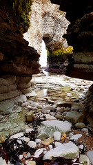 A river runs through it....(2) (mandysp8) Tags: seaarch sea ocean cave cove pebbles seaweed rocks uk yorkshire flamborough
