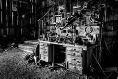 The Barn Workshop (King Grecko) Tags: bw ghosttown nelson scrapmetal usa abandoned americana antique barn blackandwhite canon contrast detail eldoradocanyon garage history metalwork monochrome texture toolstation vintage woodwork workshop