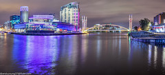 Media City-2 (andyyoung37) Tags: manchester manchestershipcanal mediacity nighttime salfordquays uk waterreflections bridge lightreflections