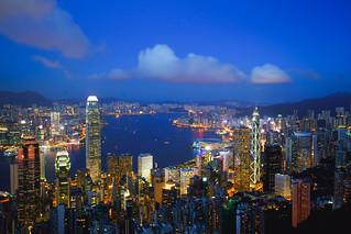 Hong Kong skyline at Victoria peak, Hong Kong China