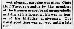 1897 - Clayton Huff birthday surprise party - Enquirer - 30 Jul 1897