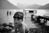Charlie after a swim: Lake Motosu, Japan (Alfie | Japanorama) Tags: monochrome blackandwhite kerlee 35mm f12 lake lakemotosu mount fuji yamanashi japan water portrait kid son boy child children nikon d800e