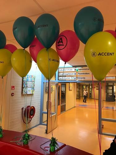 Tafeldecoratie 3ballonnen Bedrukt Praktijkonderwijs Accent Cappelle aan den IJssel