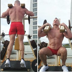 calves n quads (ddman_70) Tags: shirtless muscle gym workout outdoor pecs abs quads calves shortshorts
