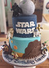 star wars (backhomebakerytx) Tags: cake birthday kid star wars two tier millennium falcon yoda death darth vader r2d2 c3po luke skywalker