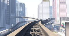 Many highways (Ricco Saenz) Tags: sl secondlife tokyo japan monorail highway realism