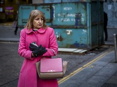 Feeling Pink; Got The Blues (Leanne Boulton) Tags: portrait urban street candid portraiture streetphotography candidstreetphotography candidportrait streetportrait streetlife woman female lady face expression eyes look emotion mood feeling atmosphere blue pink bright colourful coat style fashion juxtaposition tone texture detail depthoffield bokeh vibrant naturallight outdoor light shade city scene human life living humanity society culture people canon canon5d 5dmkiii 70mm ef2470mmf28liiusm color colour glasgow scotland uk
