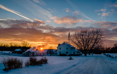 Snowy Sunset #3 (tquist24) Tags: hdr indiana lagrangecounty nikon nikond5300 outdoor clouds cold evening farm geotagged home house road rural sky snow sunburst sunset tree trees windmill winter shipshewana unitedstates