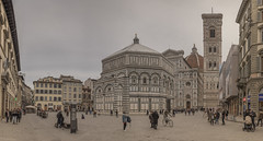 Santa Maria del Fiore (biktoras07) Tags: santa maria del fiori cathedral florence firenze renaissance filippobrunelleschi 13th century 1434 battisterio san giovanni piazza duomo dome belltower people tourists square winter sky grey marble architecture outdoor outside victorsantos