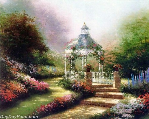 Thomas-Kinkade-hidden-gazebo-Painting