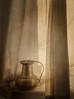 Window Light and Shadow (suzanne~) Tags: stilllife jug brass curtain window indoor windowsill