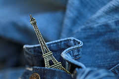 A pocketful of wishes (eleni m, longing for spring...) Tags: pocket wishes pocketfulofwishes dreams reality jeans blue eiffeltower tower eiffel dof macro indoor button paris