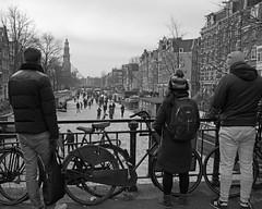 skating the canals (=Mirjam=) Tags: nikond750 amsterdam prinsengracht schaatsen skating winter winterfun dutch ijspret bw maart 2018