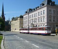 Rear view of Olomouc trams Nos. 164 and 165 having just left the stop. (johnzebedee) Tags: transport tram publictransport vehicle olomouc czechrepublic johnzebedee tatra tatrat3